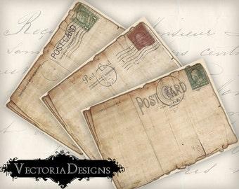 Vintage Tattered Postcards ATC vintage images digital background instant download printable collage sheet VD0318
