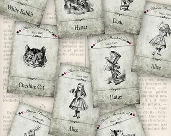 Alice in Wonderland Labels printable paper crafting scrapbooking card making diy instant download digital collage sheet - VDLAAL1192