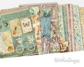 My Little Garden Paper Pack, Printable Paper Pack, Digital Paper, Ephemera Paper Pack, Scrapbook Paper, Garden Decor, Mixed Media  002251