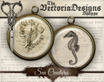 Sea Creatures Circles - 1.5 inch / 1 inch / 14 mm / 0.5 inch - VDCIVI0048
