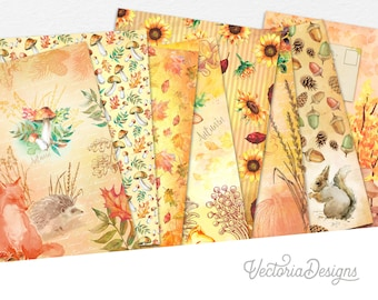 Watercolor Autumn Paper Pack, Fall Paper Pack, Fall Decoration, Decorative Paper, Colorful Paper Pack, Autumn Decoration, Fall Gift  002081