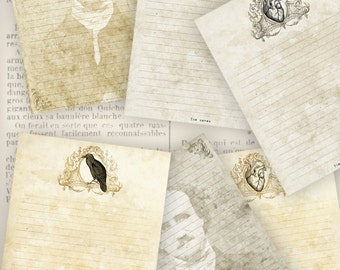 Edgar Allan Poe Papers, Writing Paper, Printable Paper, Digital Paper, Letter Paper, Stationery Paper, Vintage Paper, Scrapbook Paper 000829