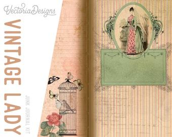 Vintage Lady Journal Kit, Junk Journal Paper Pack, Victorian Printable Paper, Digital Download, Scrapbooking Paper Pack, DIY KIt 001994