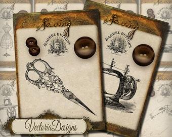 Vintage sewing ATC images digital background instant download printable collage sheet VD0191