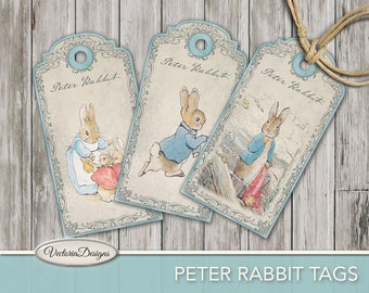 Peter Rabbit Tags, Beatrix Potter Tags, Printable Tags, Peter Rabbit Paper, Digital Tags, Peter Rabbit Stickers, Tags Scrapbooking 001716
