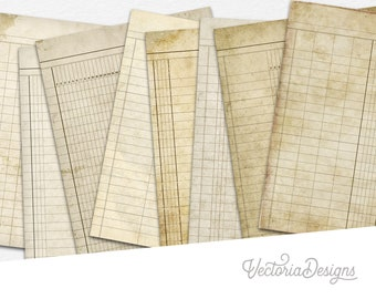 Printable Ledger Paper, Ledger Book, Digital Ledger Paper, Junk Journal, Decorative Paper, Scrapbook Digital, Old Ledger Paper Craft 001291