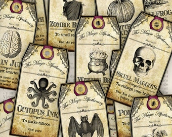 Halloween Apothecary Labels, Halloween Tags, Printable Halloween, Apothecary Tags, Wine Labels, Halloween Digital Paper Craft, 000940