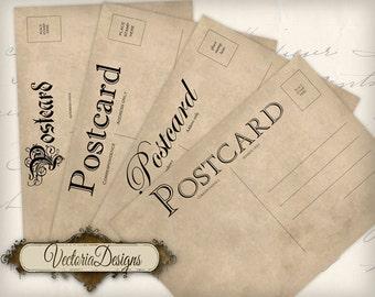 Vintage Postcards, Blank Postcards, Grunge Postcards, Printable Postcards, Digital Postcards, Old Postcards, Digital Collage Sheet 000491