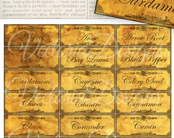 Grunge Spice and Herbs Labels printable kitchen organzing craft hobby crafting scrapbooking instant download digital collage sheet - VD0095