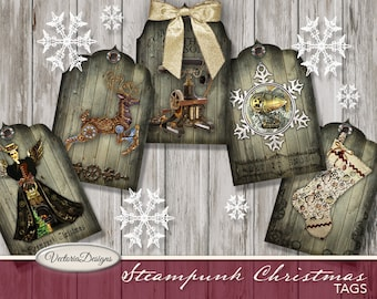 Steampunk Christmas Tags printable vintage Christmas gift tags digital graphics instant download Digital Collage Sheet- VDTACM1830