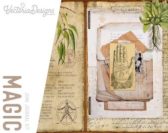 Magic Junk Journal Kit, Ephemera Journal Kit, Printable Journal Pages, Scrapbook Ephemera, DIY Kit, Digital Junk Journal, Craft Kit 002057