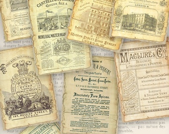 Vintage Business Typography ATC 2.5 x 3.5 inch logo background crafting junk journal instant download digital collage sheet - VDATEP1074