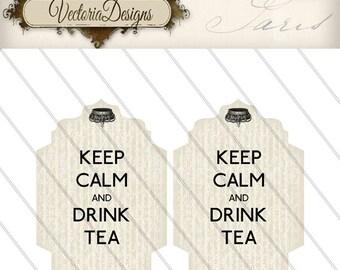 Printable Keep Calm and Drink Tea Bag Holder envelope tag instant download digital collage sheet 000081