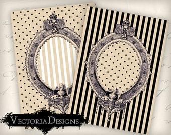 Frame Beige Black ATC vintage images digital background instant download printable collage sheet VD0334