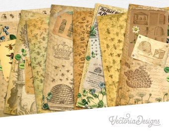 Queen Bees Paper Pack, Junk Journal Cover, Blueprints, Junk Journal Vintage Pages, Journal Pages, Printable Paper Pack, Digital Paper 002161