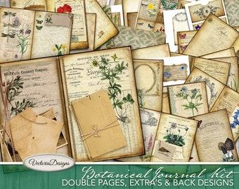 Botanical Junk Journal Kit, Printable Journal Kit, DIY Kit, Herbs Journal Kit, Cottagecore Scrapbook Paper Kit, Journaling Paper 001961