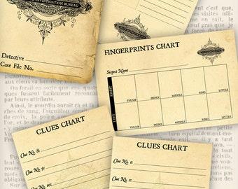 Detective Party Supplies, Private Investigator Case File, Printable Paper, Scrapbook Paper, Case File Digital, Clue Party Favors 001115