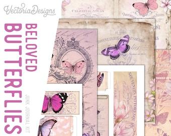 Beloved Butterflies Junk Journal Kit, Junk Journal Supplies, Junk Journal Printables, Junk Journal Ephemera, DIY Kit 002218