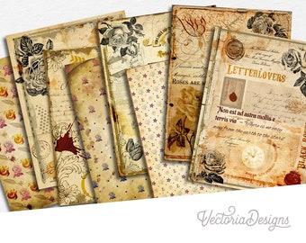 Vintage Writing Paper Pack, Junk Journal Kit, Printable Paper Pack, Digital Scrapbooking, Digital Paper, Decorative Paper, Papercraft 002062