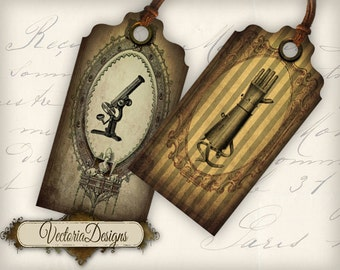 Grunge Steampunk Tags Labels printable craft art hobby crafting scrapbooking instant download digital collage sheet - VD0258