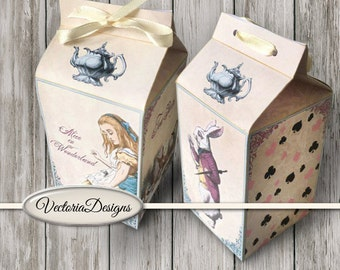 Alice In Wonderland Milk Box, Printable Favor Box, Paper Craft, Digital Milk Box, Instant Download, Digital Collage Sheets, Digital 001432
