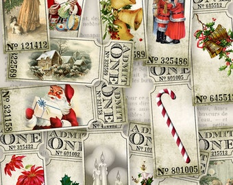 Christmas Tickets, Vintage Christmas Labels, Christmas Party Tickets, Digital Tickets, Christmas Embellishments, Xmas Tickets 001016