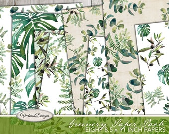 Greenery Paper Pack 8.5 x 11 inch paper printable scrapbooking paper monstera junk journal crafting instant download digital - VDPABO1966