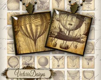 Hot Air Balloon Images 1 inch square inchies instant download printable digital collage sheet - VDSQST1993