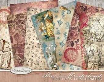 Alice In Wonderland Paper Pack, Printable Paper Pack, Decorative Paper, Fantasy Paper Pack, White Rabbit Pack, Mad Hatter, Craft Kit 002021