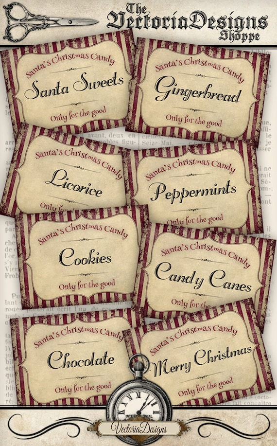 Shabby Christmas Candy Labels