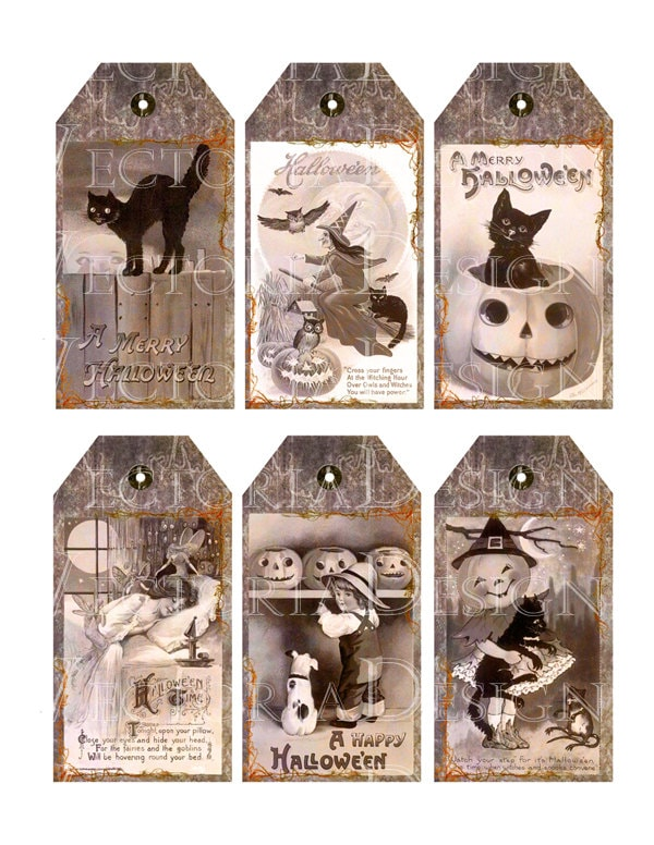 graphic about Vintage Halloween Printable named Basic Halloween Tags instantaneous down load printable reward tags