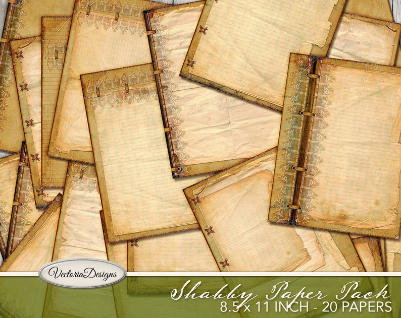 Shabby Paper Pack printable 8.5 x 11 inch shabby junk journal image 0