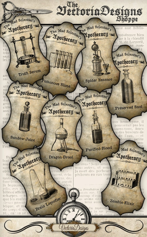 Mad Scientist Apothecary Labels