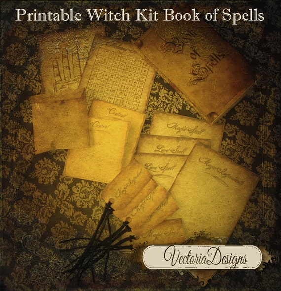 Witch Book of Spells Kit halloween fun gift printable hobby crafting  digital graphics instant download digital collage sheet - VD0247