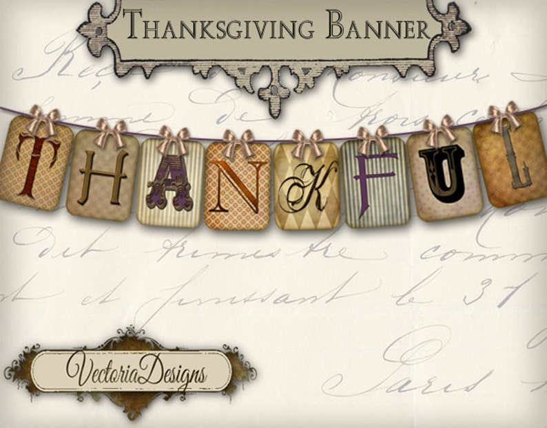 photo about Printable Thanksgiving Banner named Printable Thanksgiving Banner Grateful bash banner prompt down load electronic collage sheet VD0251