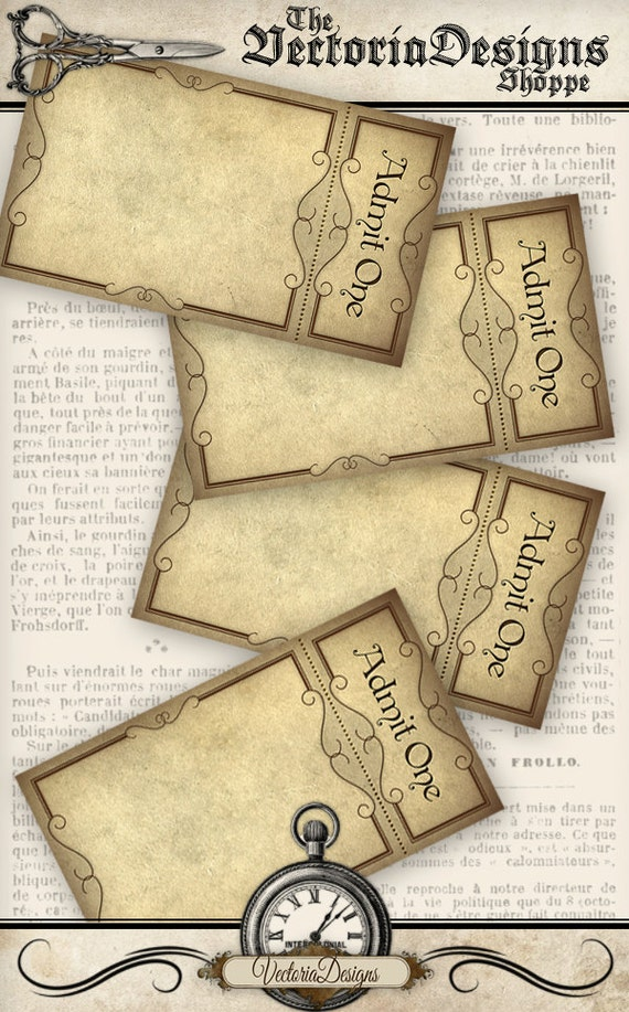 printable blank tickets steampunk style add text admit one etsy