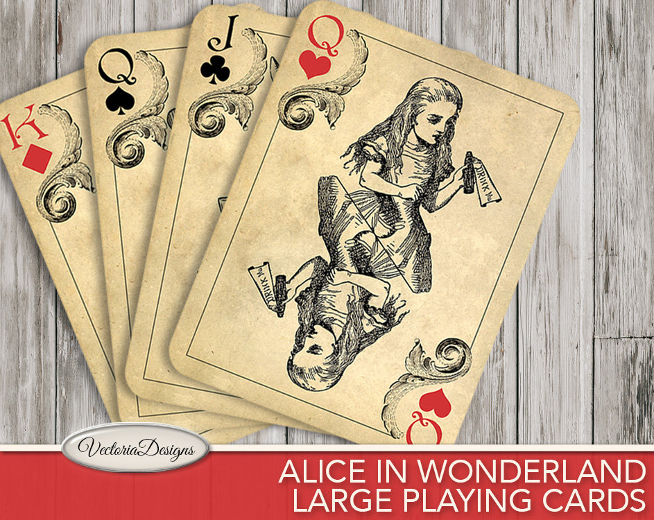 Printable Alice in Wonderland Playing Cards wall art printable hobby ...