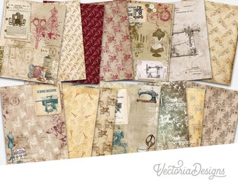 Mad About Sewing Paper Pack, Sewing Themed Papers, Printable Journal Notes, Digital Craft Kit, Scrapbook Paper Pack, Digital Paper   002052
