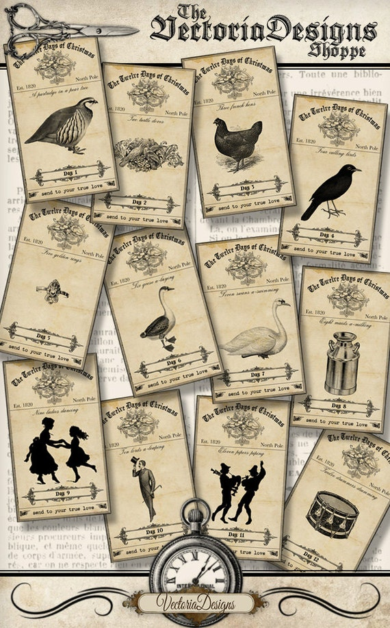Twelve Days Of Christmas Labels Mini Apothecary