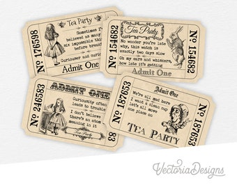 Alice In Wonderland Tickets, Tea Party Tickets, Invitation Tickets, Printable Tickets, Digital Download, Quotes Tickets, Paper Art 000387