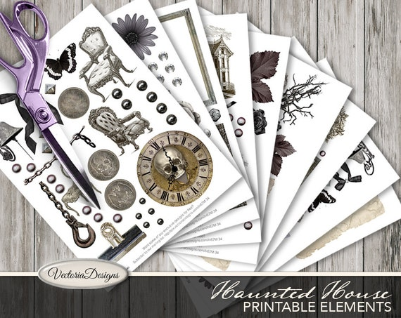 Haunted House Printable Elements