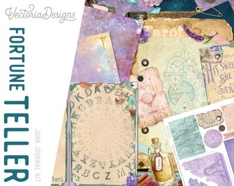 Fortune Teller Junk Journal Kit, Printable Journal Pages, Embellishments, Papers 002210