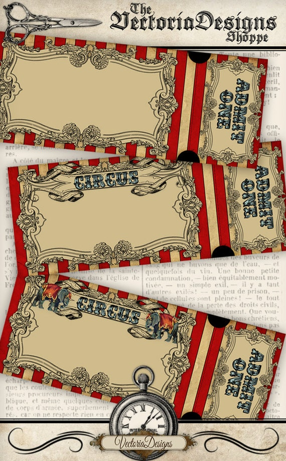 circus invitation tickets circus party printable paper etsy