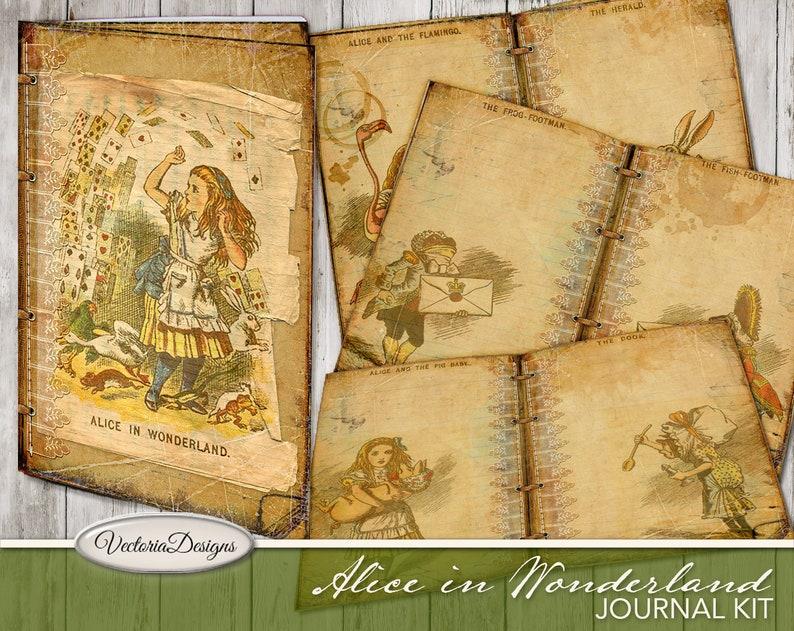 Alice In Wonderland Junk Journal Printable Journal Kit image 0