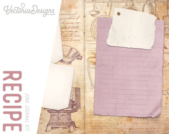 Recipe Junk Journal Kit, Printable Journal Kit, Junk Journal DIY, Journal Pages, Pink Journal, Vintage Journal Kit, Journal Supplies 002034