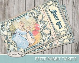 Printable Peter Rabbit Tickets paper crafting Beatrix Potter scrapbooking diy craft digital download instant digital sheet - 001732