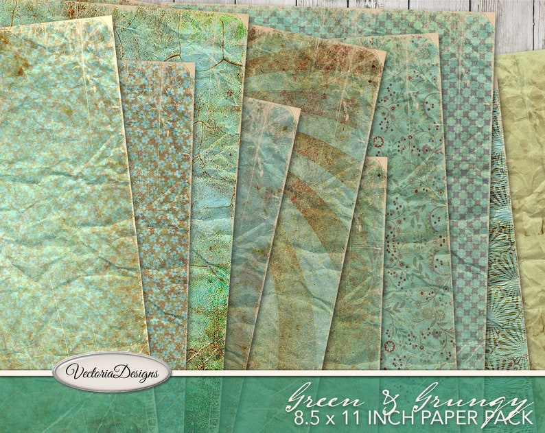 Green Grunge Paper Pack printable 8.5 x 11 inch vintage junk image 0