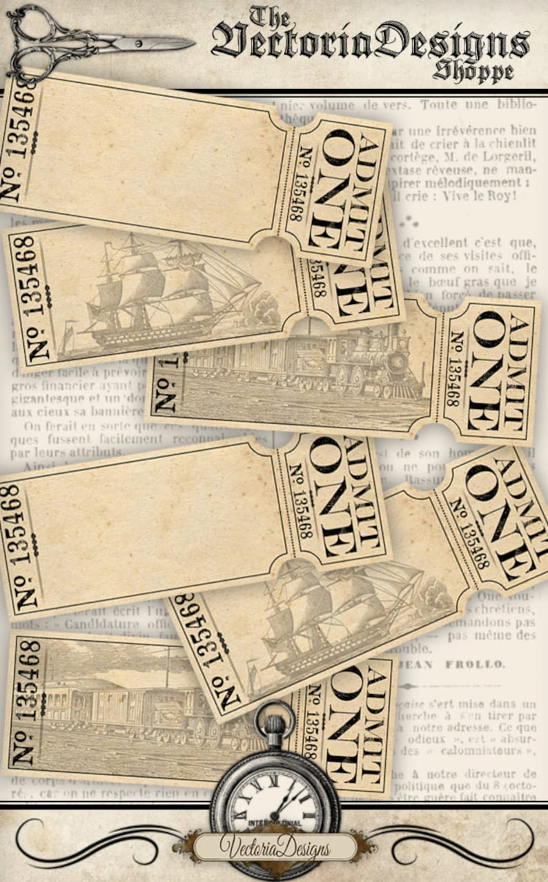 Printable Blank Tickets Admit One Boat Train Printable Hobby Etsy