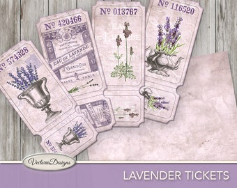 Lavender Tickets Printable paper crafting scrapbooking junk journal making diy craft digital download instant digital sheet - VDTIVI1761