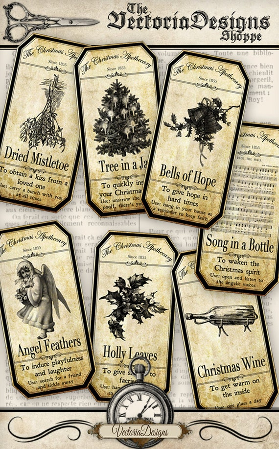 15 Christmas Apothecary Bottle Labels